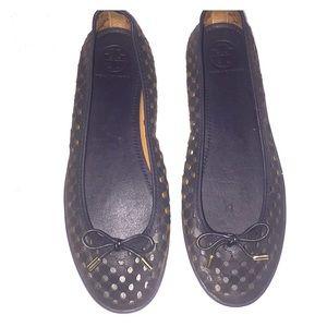 Tory Burch Navy Blue Slip On Shoe Cut Outs